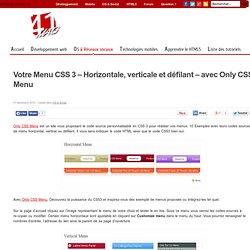 Votre Menu CSS 3 – Horizontale, verticale et défilant – avec Only CSS Menu