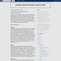 Hornloudspeaker Magazine: Comprehensive list of Klipsch plans, vintage/heritage line