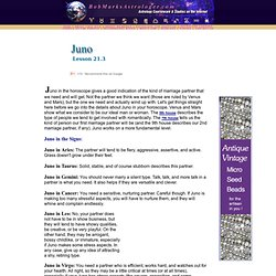 Juno in horoscope - Lesson 21.3 , Astrology Lessons by Bob Marks