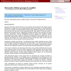 Summary of Horowitz: Ethnic groups in conflict - From WikiSummary, free summaries of academic books and articles