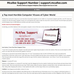 5 Top most Horrible Computer Viruses of Cyber World, mcafee support