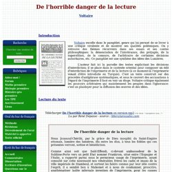 De l'horrible danger de la lecture (1765) - Voltaire