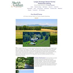 Horse Farms for Sale with Large Acreage | North Carolina