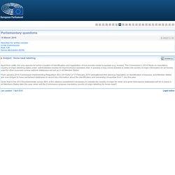 PARLEMENT EUROPEEN - Réponse à question E-002213-16 Horse meat labelling