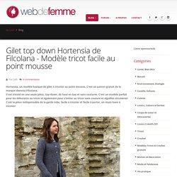 Gilet top down Hortensia de Filcolana - Modèle tricot facile au point mousse