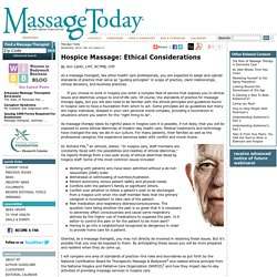 Hospice Massage: Ethical Considerations