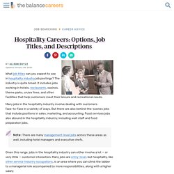 Hospitality Careers: Options, Job Titles, and Descriptions