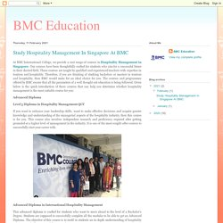 Study Hospitality Management In Singapore At BMC