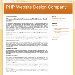 PHP Website Design Company: 5 Reasons, Hospitality Professionals Must Embrace SaaS Solutions