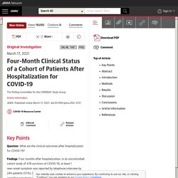 Four-Month Clinical Status of a Cohort of Patients After Hospitalization for COVID-19 / Jama network, mars 2021