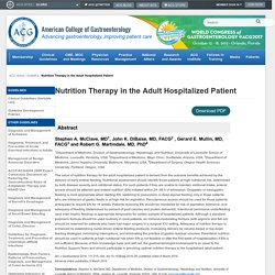 Nutrition Therapy in the Adult Hospitalized Patient