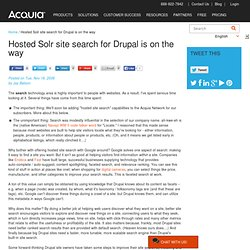 Hosted Solr site search for Drupal is on the way