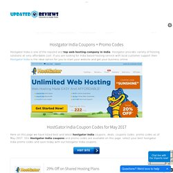 Hostgator India Coupon Codes - Get 50% Off - May 2017 - UpdatedReviews