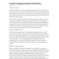 Hostile to Aging Treatment That Works