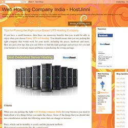 Web Hosting Company India - HostJinni: Tips for Picking the Right Linux Based VPS Hosting Company