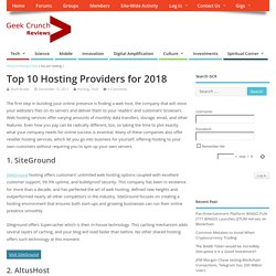 Top 10 Hosting Providers for 2018 - Geek Crunch Reviews