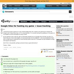 Google Sites for hosting my game + issue tracking
