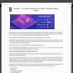 Hostinger - Is It a Best WordPress Host in 2020?