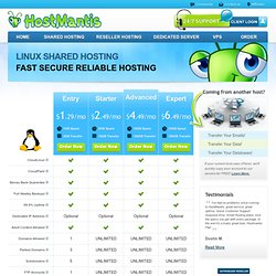 Best Web Hosting By HostMantis - Reliable and affordable web hosting plans