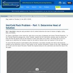 Hot/Cold Pack Problem - Part 1