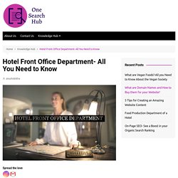 Hotel Front Office Department- All You Need to Know - One Search Hub