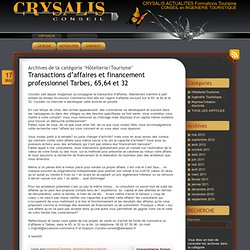 CRYSALIS ACTUALITES Formations Tourisme