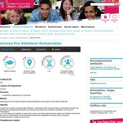 Licence Pro Hôtellerie Restauration