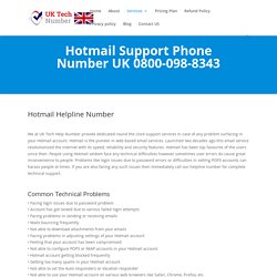 Hotmail Helpline Number UK 0800-098-8343 Hotmail Help Number