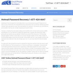 Hotmail Password Recovery 1-877-424-6647 Password Reset