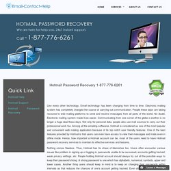 Hotmail Password Recovery 1-877-776-6261 reset hacked account
