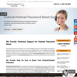Hotmail Password Reset Phone Number 1-800-748-8907