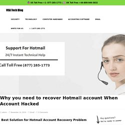 Hotmail Account Recovery 1877-285-1773 Recover Hotmail Password