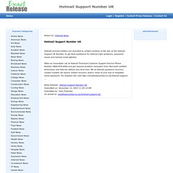 Hotmail problem support phone number uk