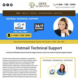 Hotmail Tech Support Number 1-844-738-3994 for Hotmail Support