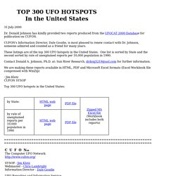 TOP 300 UFO HOTSPOTS from the UFOCAT database