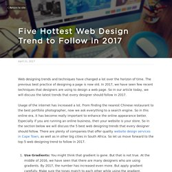 Five Hottest Web Design Trend to Follow in 2017