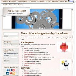 Hour of Code Suggestions by Grade Level