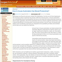 How In-house Automation Can Boost Productivity? - Productivity