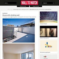 Casa con muro de escalada