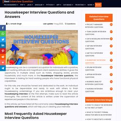 Best Housekeeper Interview Questions And Answers 2020