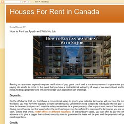 Houses For Rent in Canada: How to Rent an Apartment With No Job