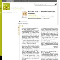Houssaye (Jean). — Autorité ou éducation ?