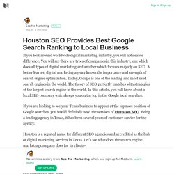 Houston SEO Provides Best Google Search Ranking to Local Business