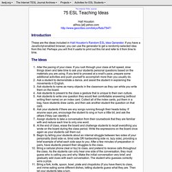 75 ESL Teaching Ideas