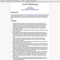75 ESL Teaching Ideas