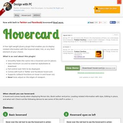 Hovercard - a jQuery plugin with built in Twitter and Facebook cards
