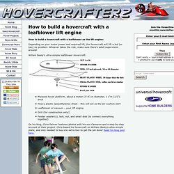 How to build a hovercraft with a leafblower engine