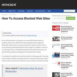 How To Access Blocked Web Sites