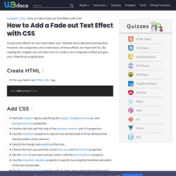 How to Add a Fade out Text Effect with CSS