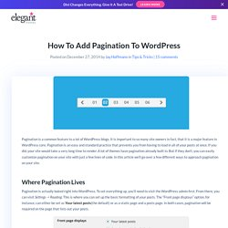 How To Add Pagination To WordPress